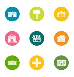 Edifice icons set flat style vector