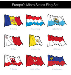 europe micro states waving flag set vector image
