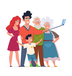 family photo selfie group portrait three vector image