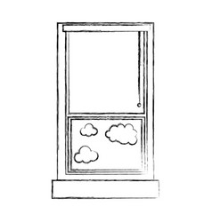 figure window with curtain blind open and clouds vector image