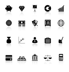 Finance icons with reflect on white background vector image