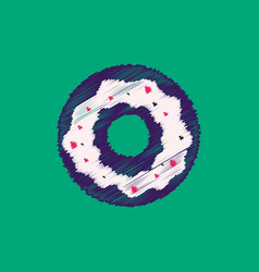 flat icon design collection donut with cream vector image