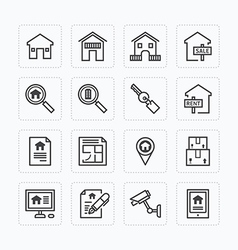 Flat icons set real estate property outline vector