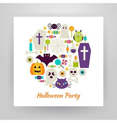 Flat Style Circle Set of Halloween Holiday Objects vector image