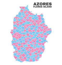 Flores island azores map - mosaic lovely vector