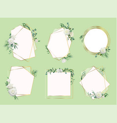 flower wedding invitation border floral frames vector image