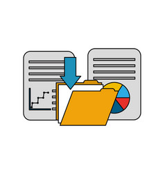 folder with documents and statistic graphic vector image