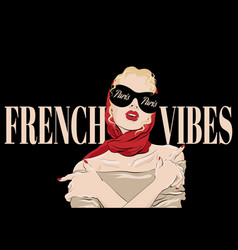 french vibes paris hand drawn of vector image
