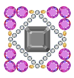 Gemstone rim asscher cut square brooch vector image