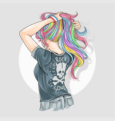 girl unicorn full colour hair with rocker t-shirt vector image
