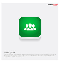 group of people icon green web button vector image