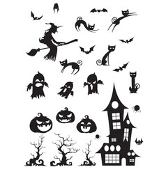 halloween blackwhite icon vector image