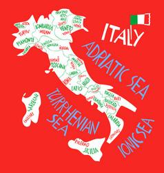 Hand drawn stylized map italian republic vector