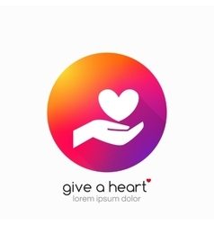 Hands holding heart symbol abstract gradient vector