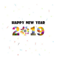 happy new year 2019 backgroundcolorful greeting vector image