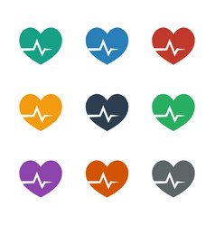 Heartbeat icon white background vector