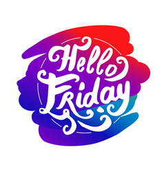 hello friday logo colorful lettering vector image