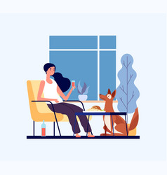 Home dinner concept girl with her dog in living vector