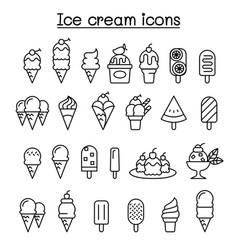 Ice cream icon set in thin line style vector
