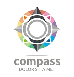 Icon compass direction place abstract vector