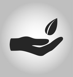 Icon hand with leave saving eco nature vector