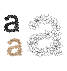 Isolated lowercase floral letter a vector