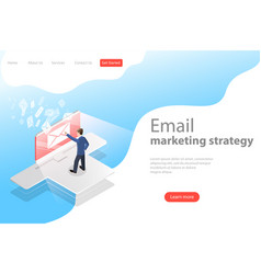 Isometric landing page template for e-mail vector