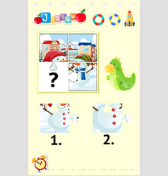 Jigsaw puzzle game with two snowmen vector
