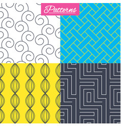 Labyrinth braid and floral seamless textures vector