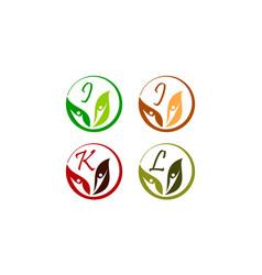 Leaf health nutrition initial i j k l vector