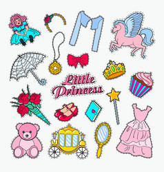little princess doodle set stickers badges vector image