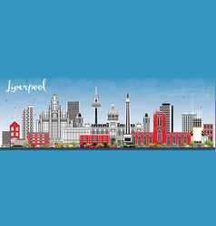 Liverpool skyline with color buildings and blue vector