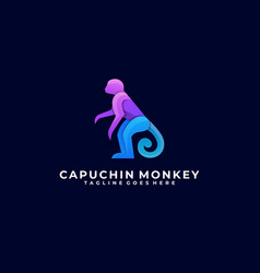 Logo monkey pose gradient colorful vector