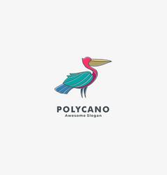 logo pelican pose simple mascot style vector image