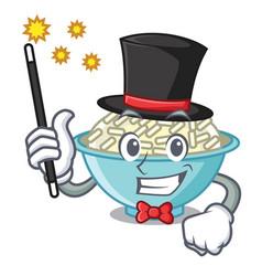 Magician rice bowl mascot cartoon vector