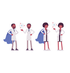 Male and female black scientist with symbols vector