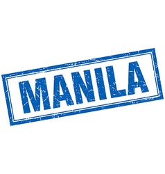 Manila blue square grunge stamp on white vector