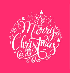 merry christmas lettering circle vector image