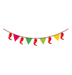 Mexican garland with banner and chili pepper vector