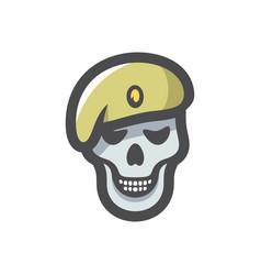 Military skull soldier icon cartoon vector