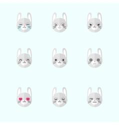 minimalistic flat bunny emotions icon set vector image