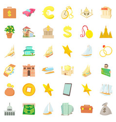 money icons set cartoon style vector image