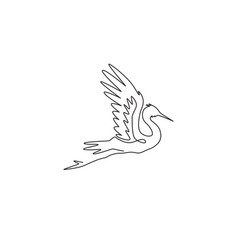 one continuous line drawing cute flying heron vector image