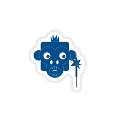 Paper sticker on white background monkey sparkler vector