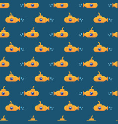 pattern yellow submarine underwater in sea water vector image