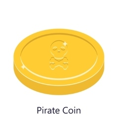 Pirate coin gold Skull sign vector image