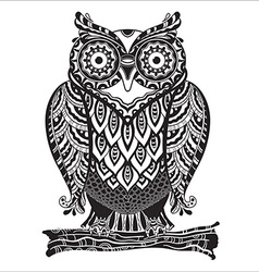 Print beautiful decorative owl with a lot of vector