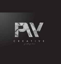 Pw p w letter logo with zebra lines texture vector