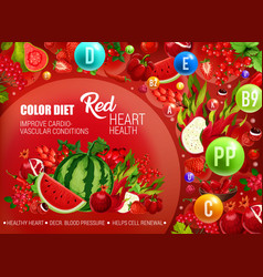 Red color food diet cancer prevention vector