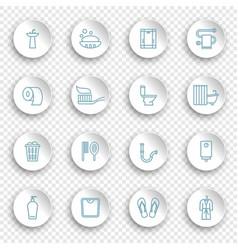 restroom bathroom toilet con set linear icons vector image